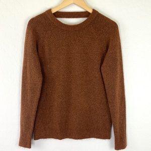 Loft open back brown stretch fuzzy sweater medium